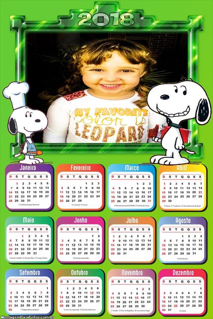 Calendário 2018 Snoopy Cachorrinho