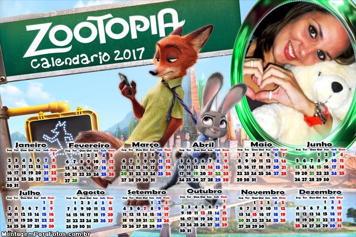 Calendário 2017 Zootopia