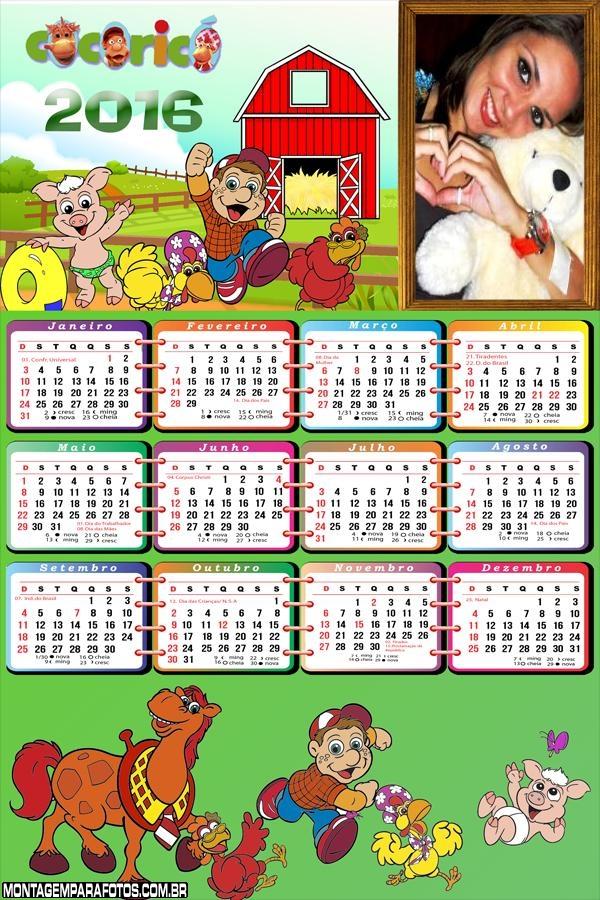 Calendário do Cocoricó Fazendinha 2016 Infantil