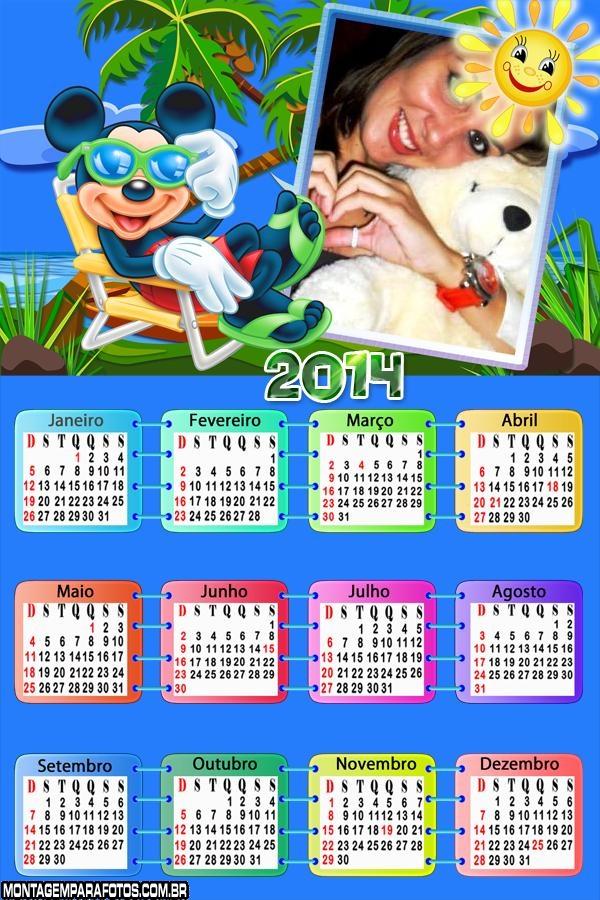 Calendário 2014 Férias Mickey