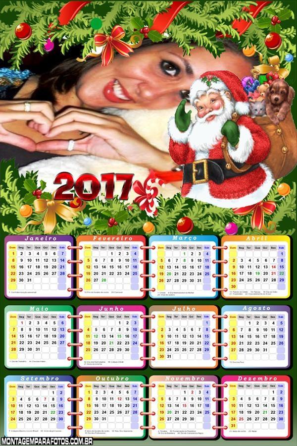 Calendário 2017 Papai Noel Desenho
