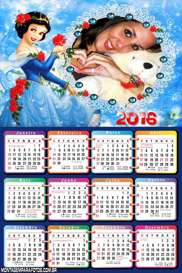 Calendário da Branca de Neve Princesa 2016