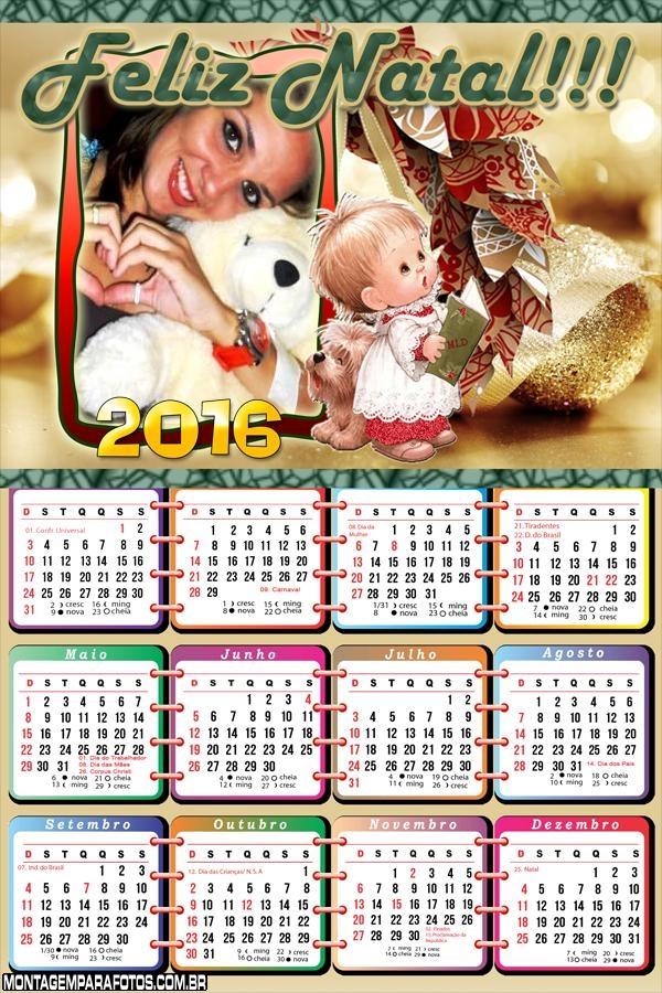 Calendário Feliz Natal Menininha 2016