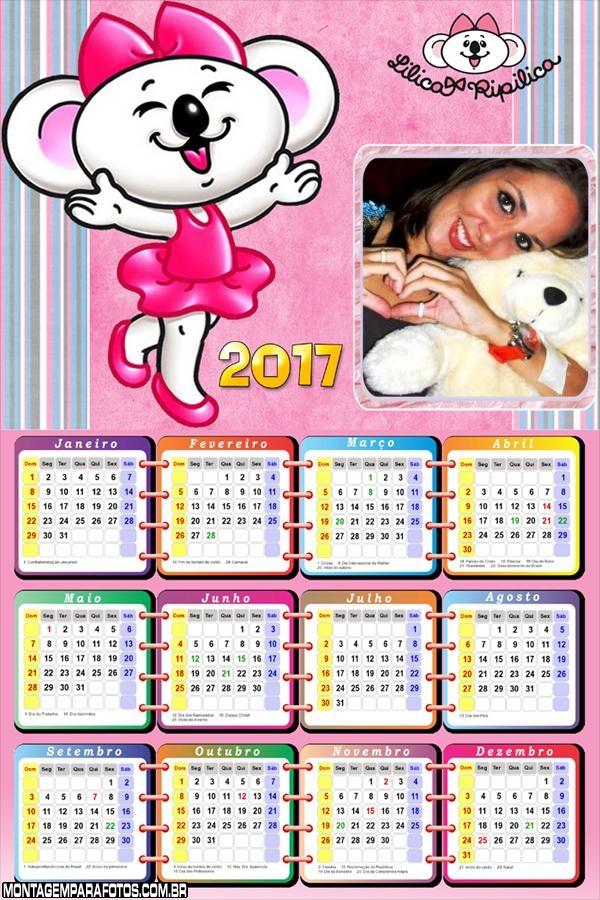 Calendário 2017 Lilica Ripilica Ratinha Cor de Rosa