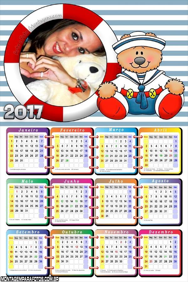Calendário 2017 Marinheiro Ursinho