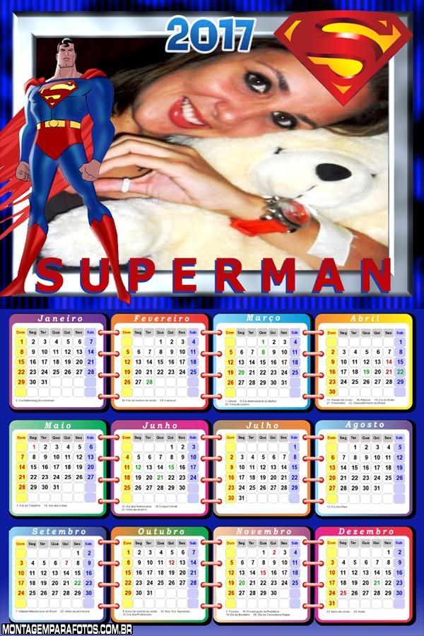Calendário 2017 do Super Man