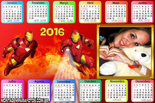 Calendário Homem de Ferro Horizontal 2016