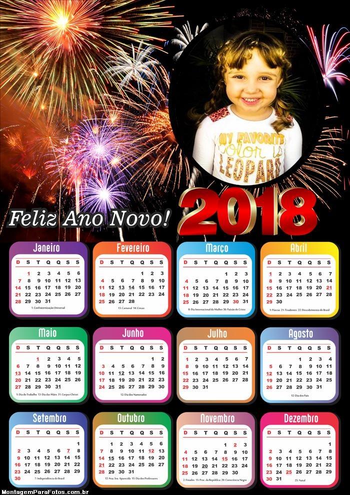 Montagem Digital Calendário 2018 Comemoração