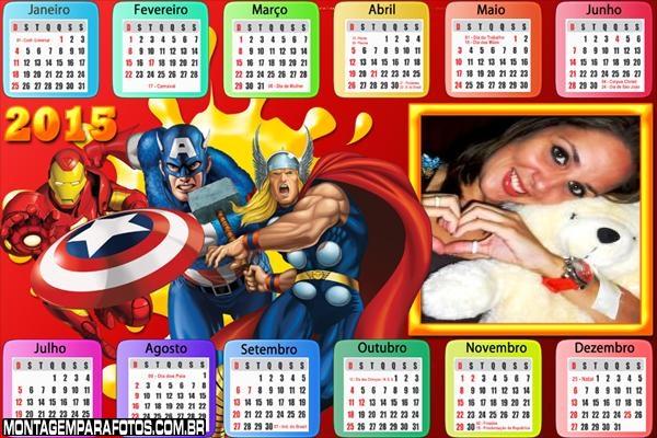 Calendário 2015 Heróis Quadrinhos