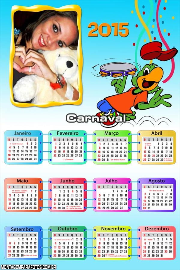 Calendário 2015 Carnaval