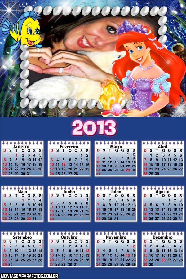 Princesa Ariel Calendário 2013