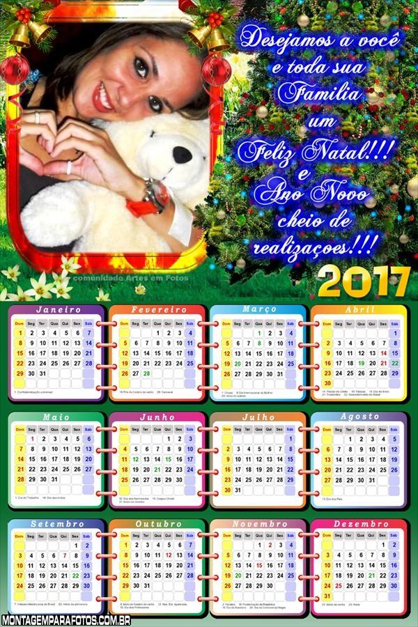 Calendário 2017 com Mensagem de Natal