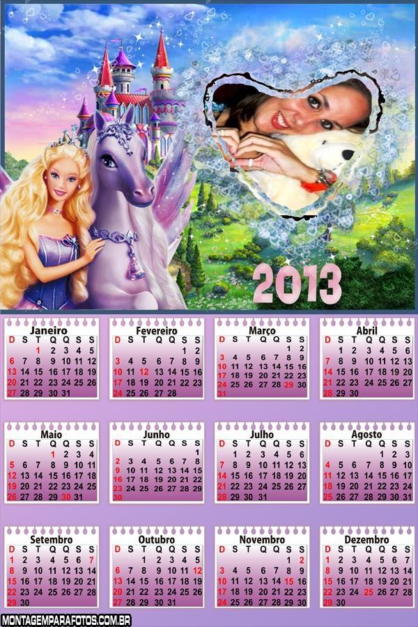 Calendário Barbie e Cavalo