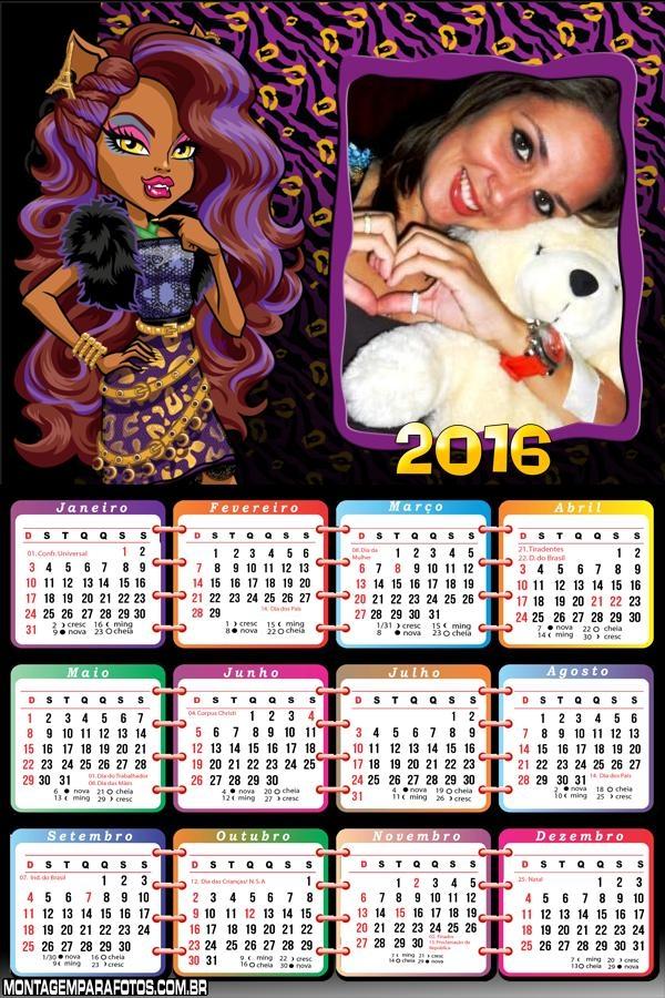 Calendário Clawdeen Monster High 2016