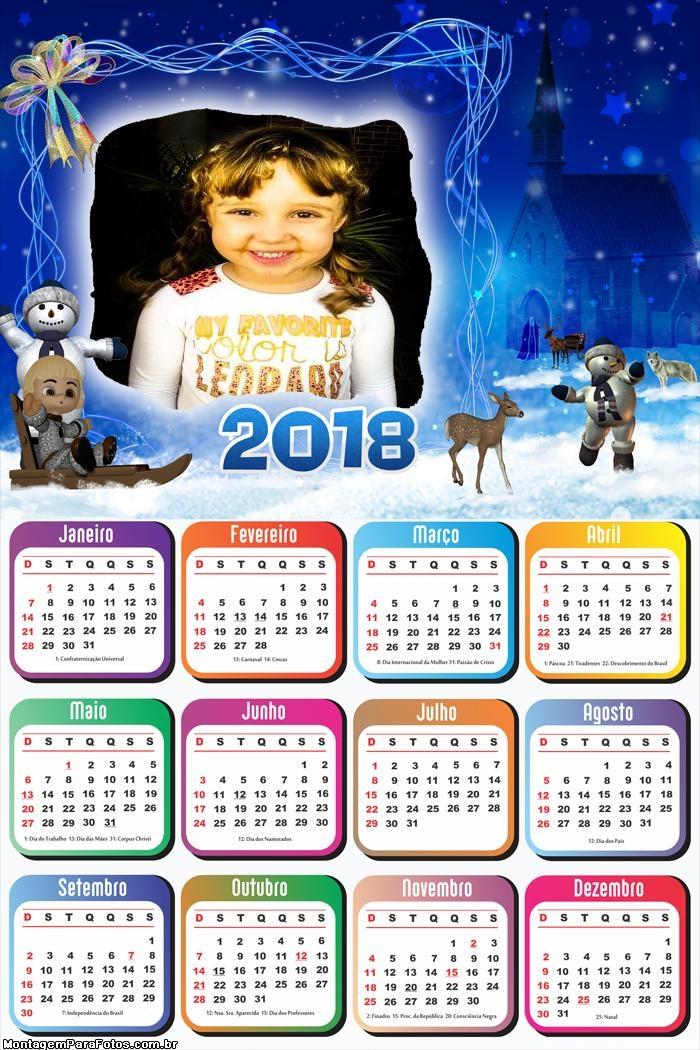 Calendário 2018 Bonecos de Neve