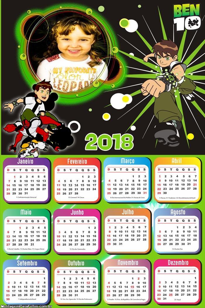 Calendário 2018 Ben 10
