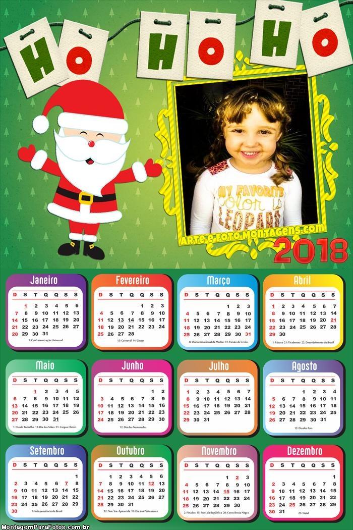 Calendário 2018 Ho Ho Ho Cut Papai Noel