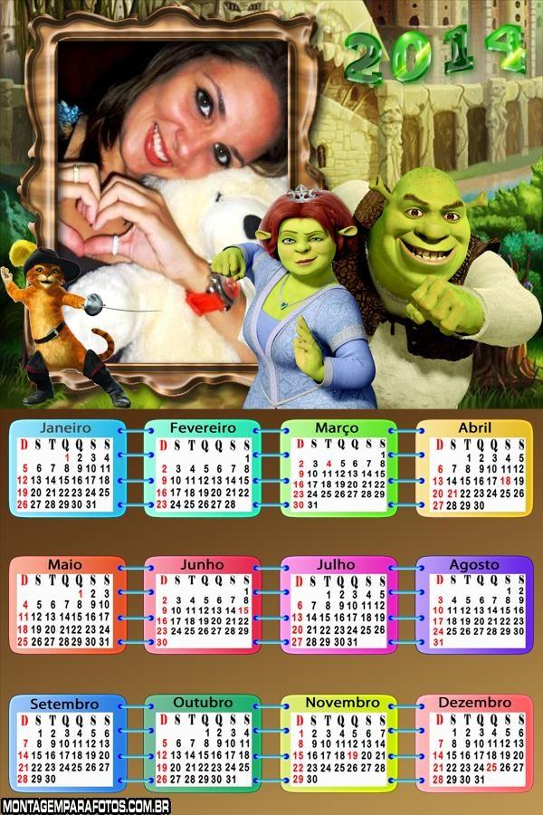 Calendário 2014 Shrek e Fiona