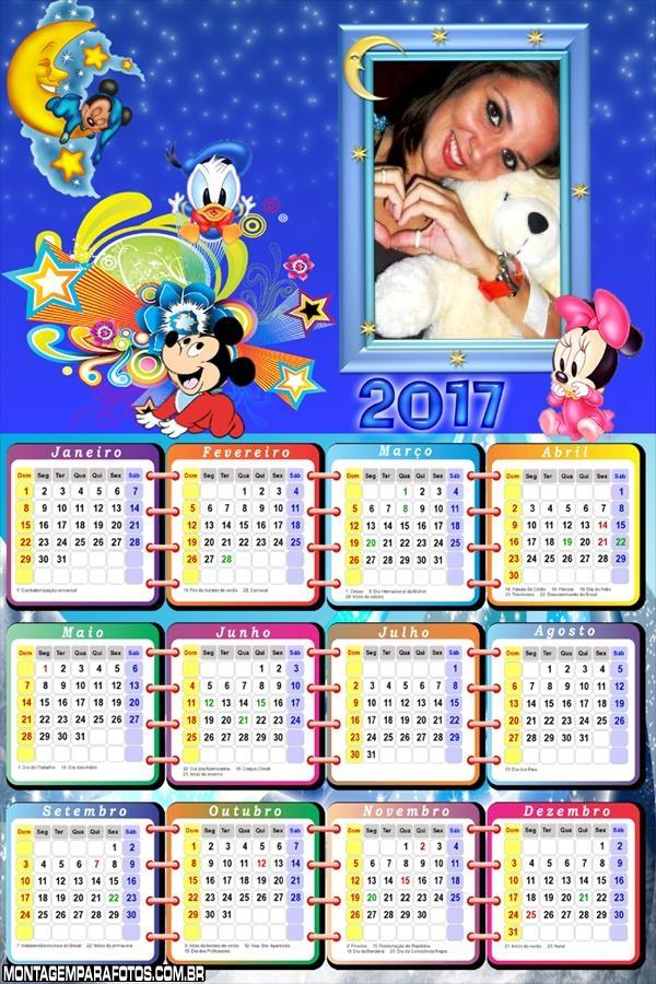 Calendário 2017 Noite Baby Disney Hora de Dormir