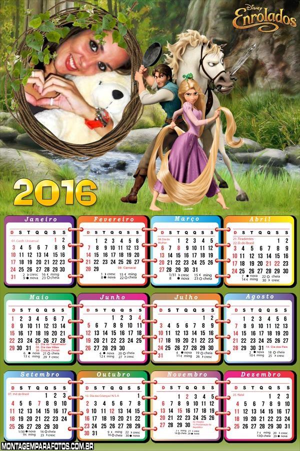 Calendário Enrolados 2016 Disney