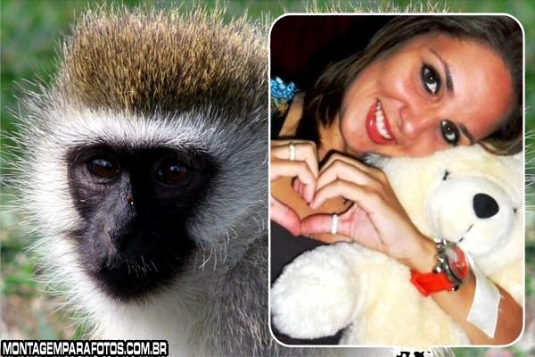 Moldura Macaco Branco e Preto