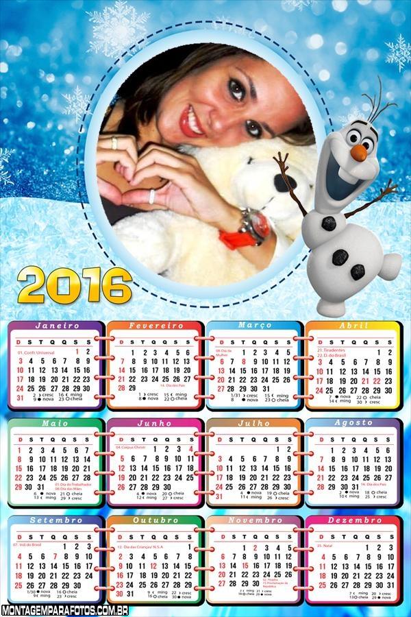 Calendário Olaf do Fime Frozen 2016