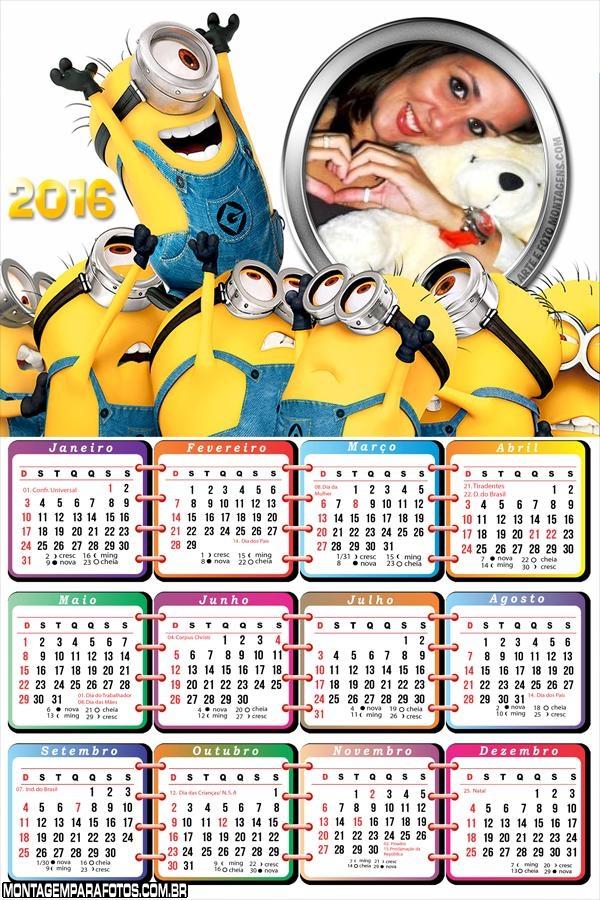 Calendário Minions Filme 2016