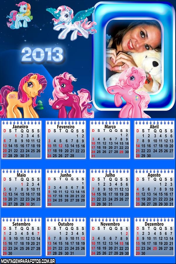 Moldura Calendário Poneis 2013