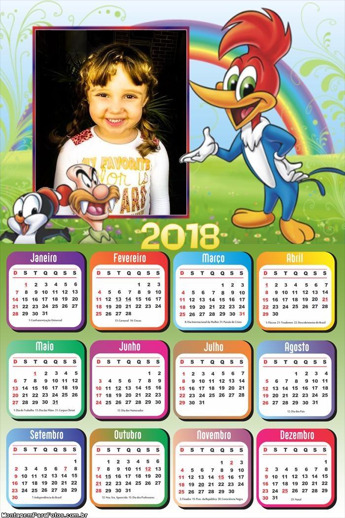 Calendário 2018 Desenho do Pica Pau