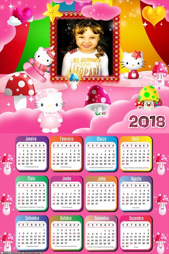 Calendário 2018 Festa Hello Kitty