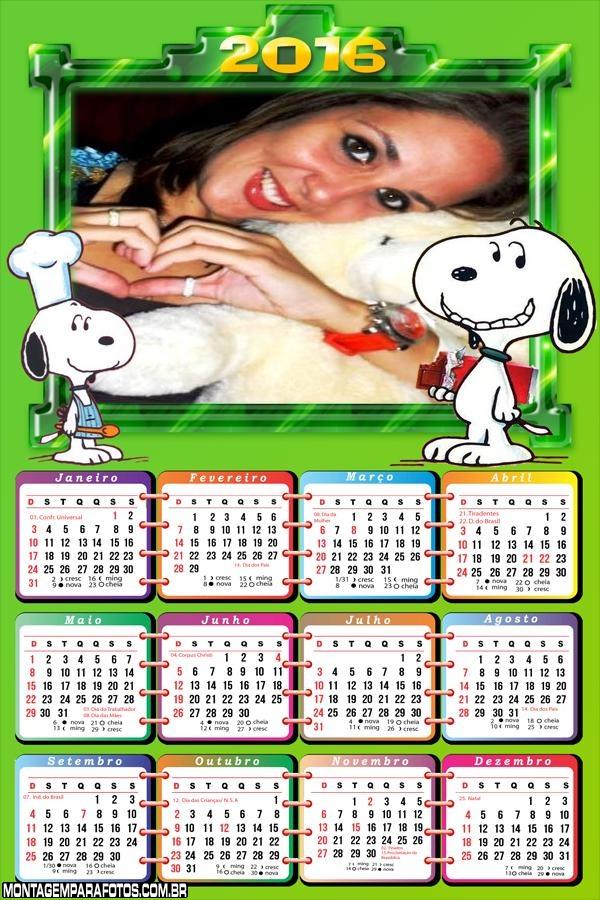 Calendário Cachorrinho Snoopy 2016
