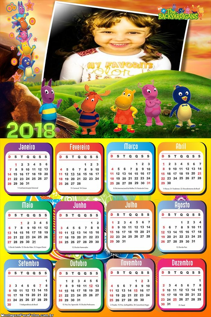 Calendário 2018 Desenho dos Backyardigans
