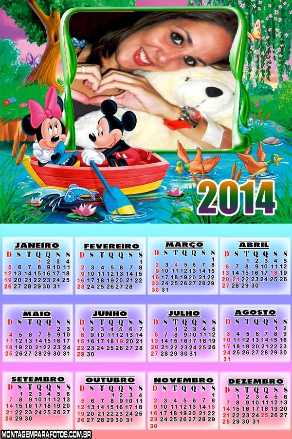 Calendário Mickey e Minnie 2014