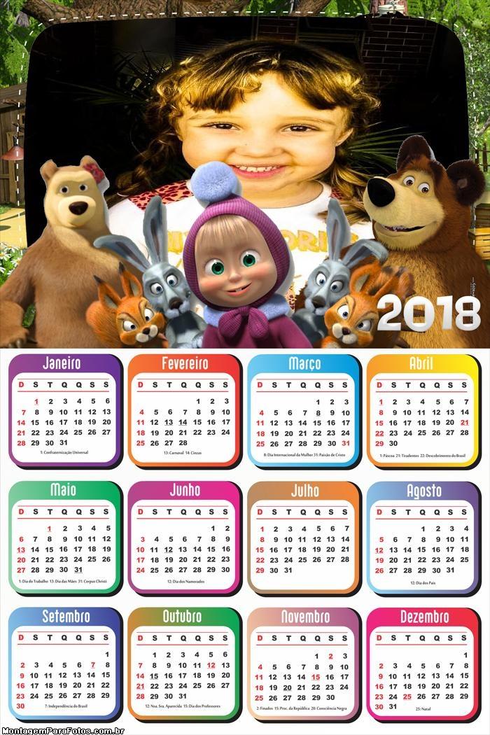 Calendário 2018 Masha e o Urso Personagens