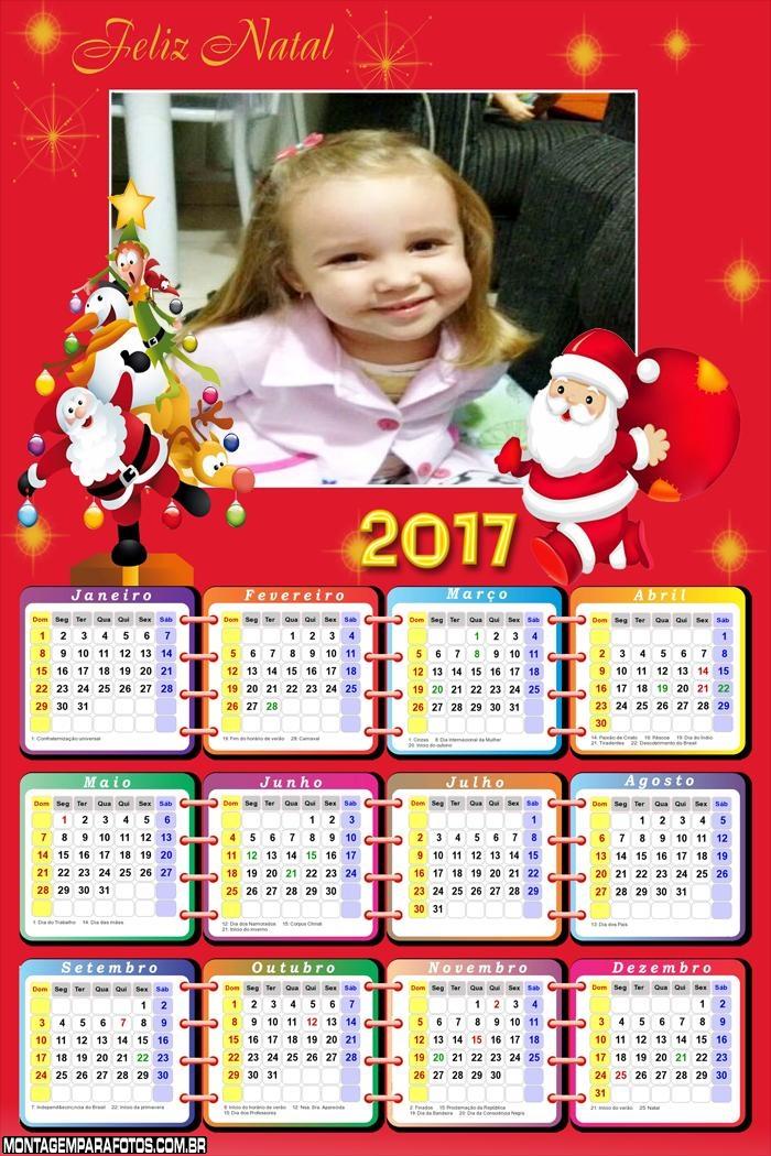 Calendário 2017 Papai Noel para Imprimir