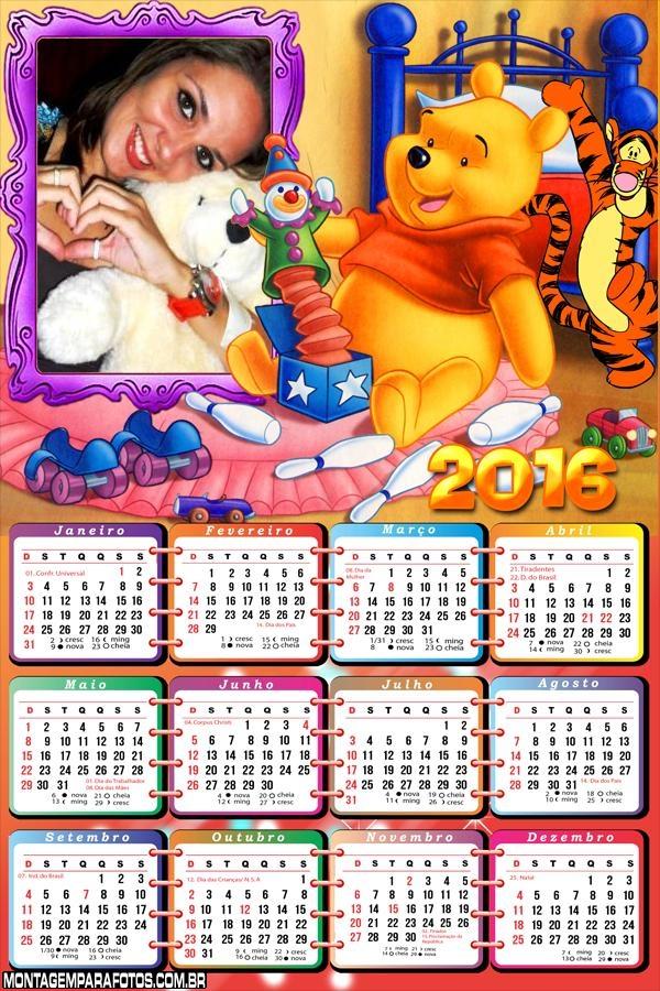 Calendário Urso Pooh Infantil 2016