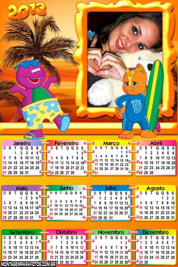 Calendário Barney Surf 2013