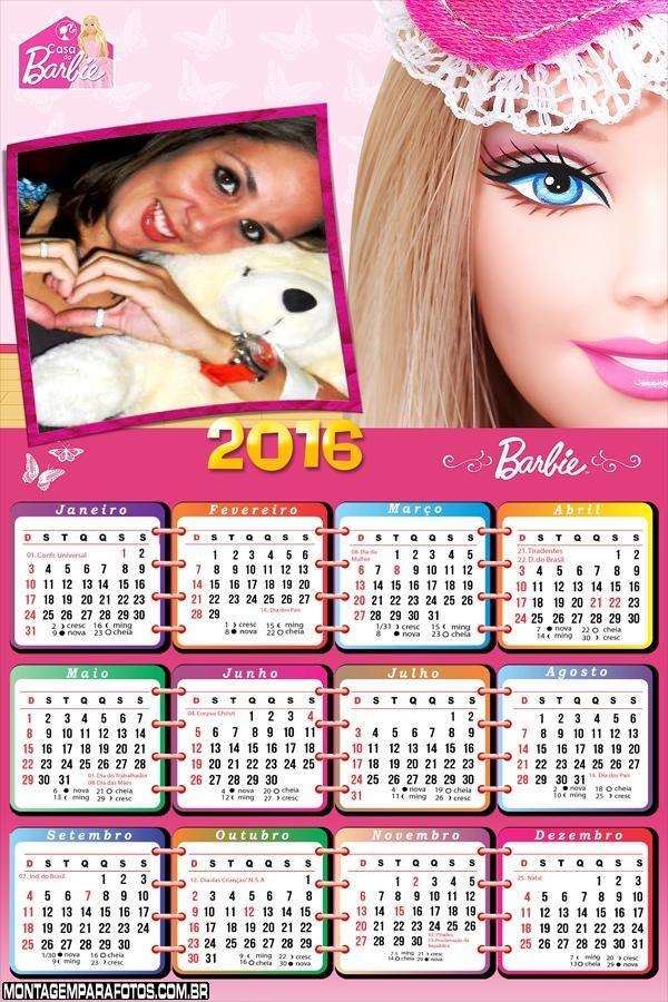 Calendário Barbie Pop Star 2016