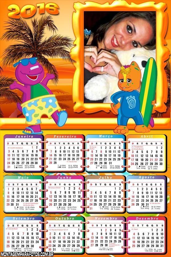 Calendário Barney Surfando 2016
