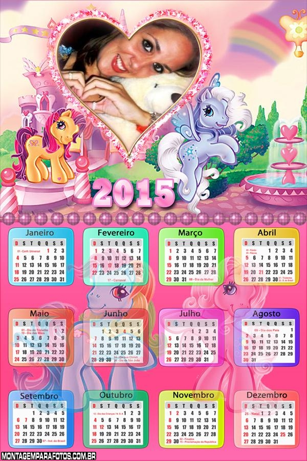 Calendário 2015 Pôneis Amor