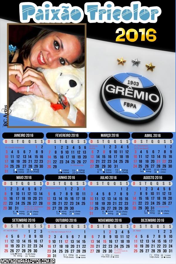 Calendário Paixão Tricolor Grêmio 2016