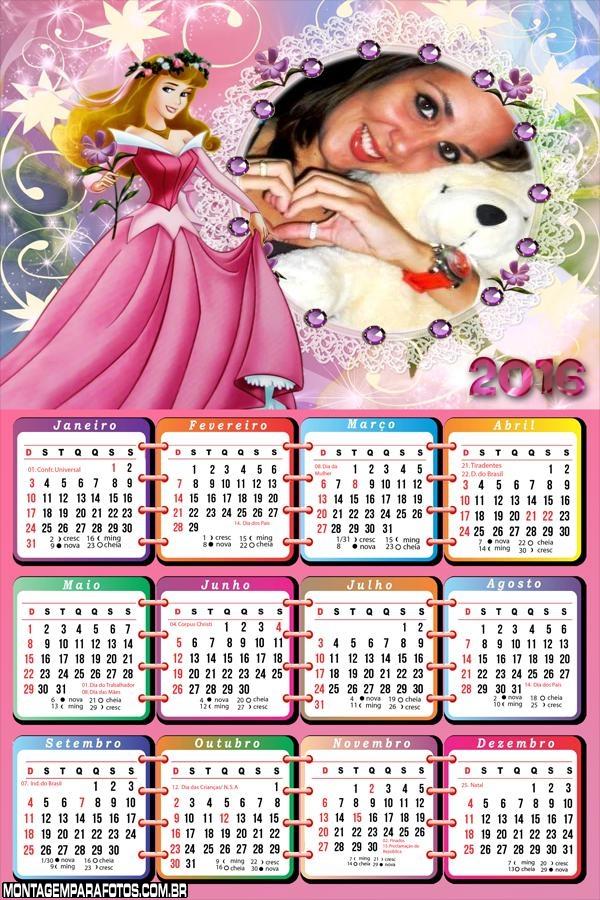 Calendário Menina Princesa 2016