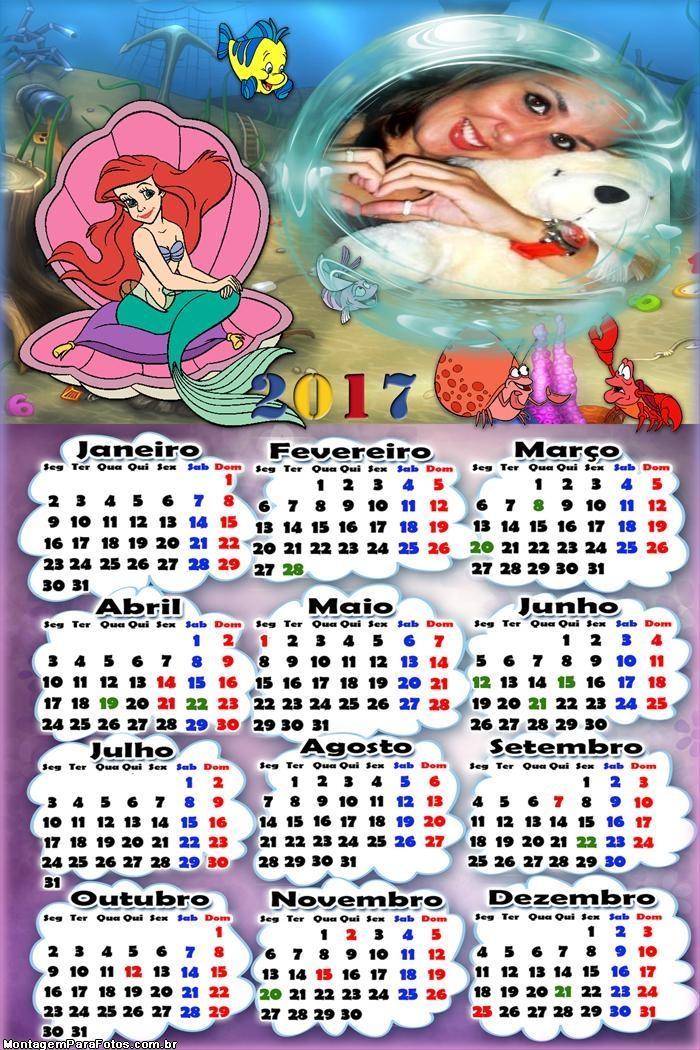 Calendário 2017 Pequena Sereia Princesa