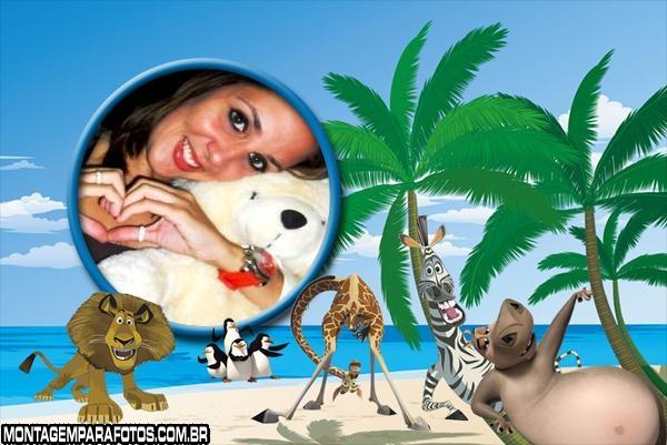 Turma Madagascar na Praia