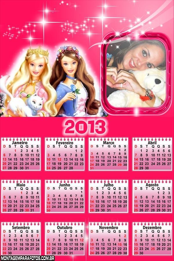 Calendário Barbie Rosa 2013