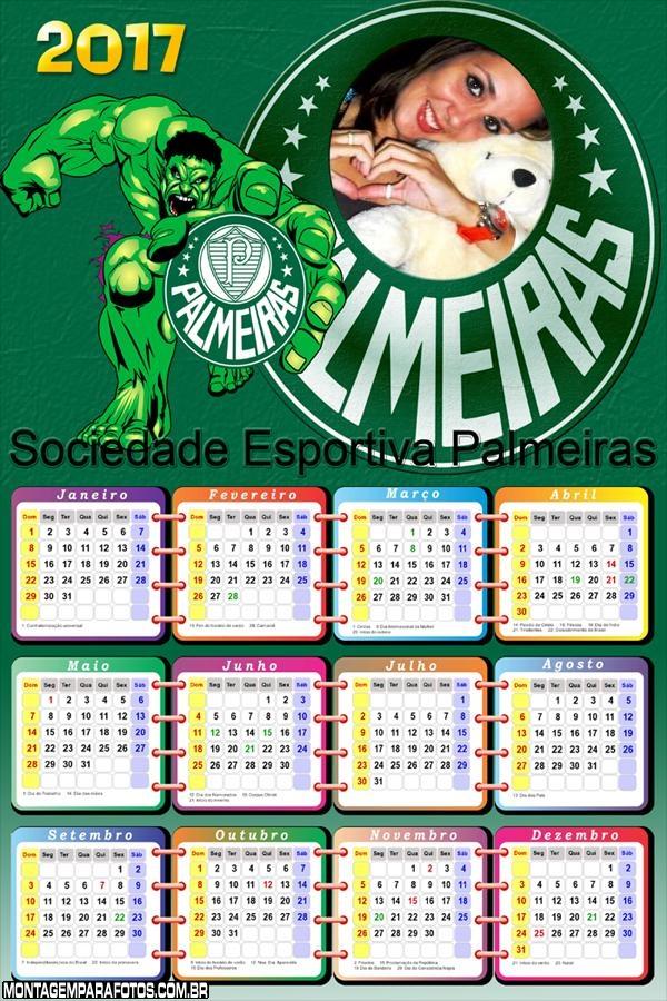 Calendário 2017 Palmeiras Hulk