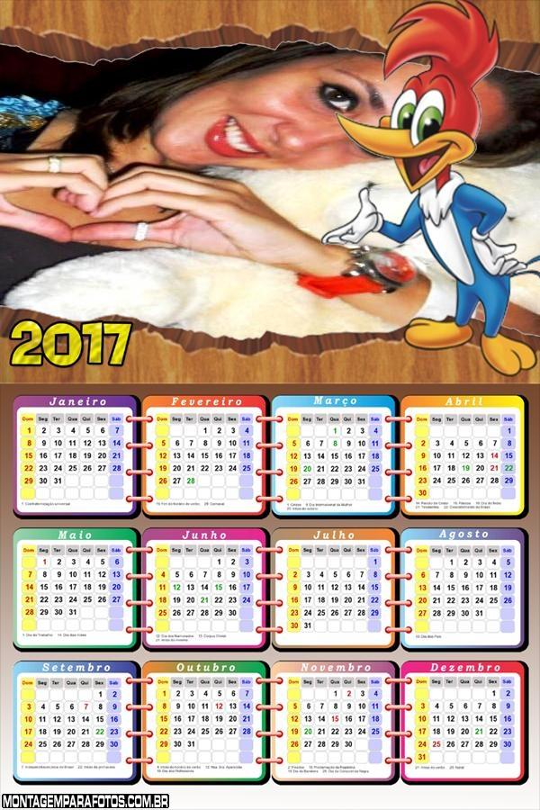 Calendário 2017 do Pica Pau Desenho