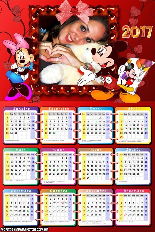 Calendário 2017 Mickey e Minnie Quadro de Pintura