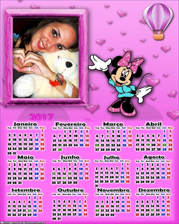 Calendário 2017 Minnie Cor de Rosa