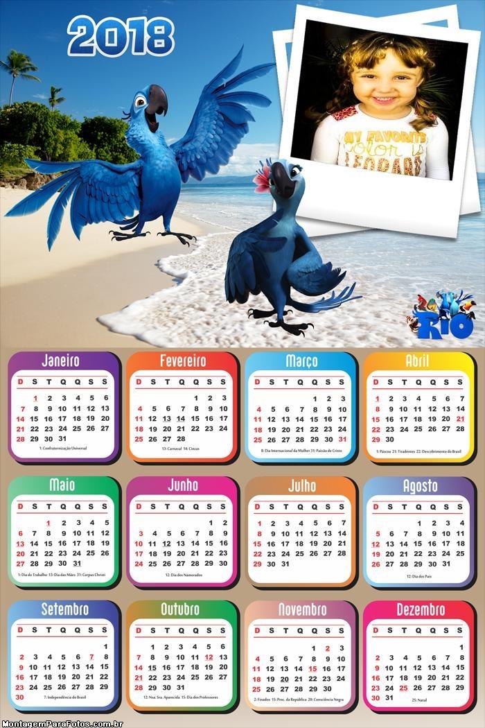 Calendário 2018 Araras Azuis Filme Rio